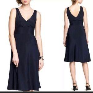 J. Crew Black Sophia 100% Silk Tricotine Dress